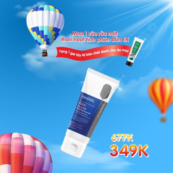 Mua 1 Sữa rửa mặt than hoạt tính phiên bản EX tặng 1 gel tẩy tế bào chết dành cho da mặt